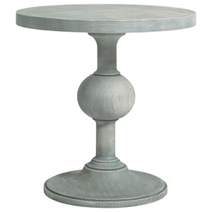 Round Pedestal End Table in Boardwalk Finish