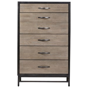 Spencer 5 Drawer Chest in Two-Tone Finish with Drop-Front Drawer
