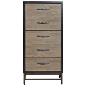 Spencer Narrow Five Drawer Chest in Two Tone Finish