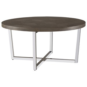 Dorchester Round Cocktail Table with Chrome-Plated Base