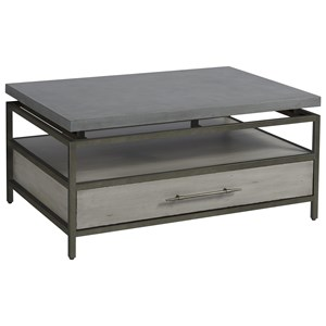 Garrison Cocktail Table with Faux Concrete Top and One Drawer