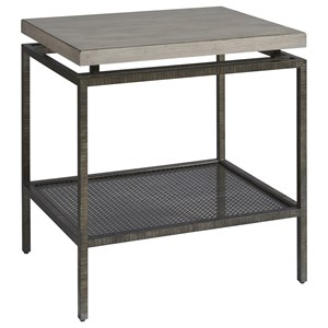 Garrison Metal End Table with Faux Concrete Top