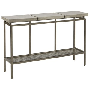 Garrison Metal Console Table with Faux Concrete Top