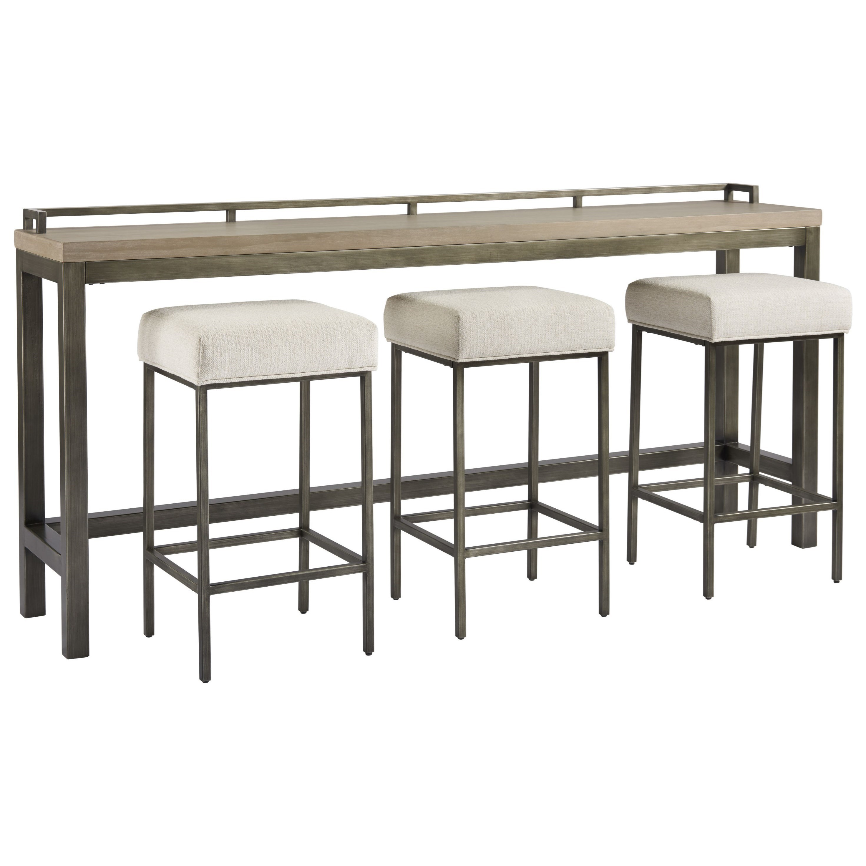 Curated Mitchell Console Table with 3 Stools by Universal at Miller Waldrop Furniture and Decor
