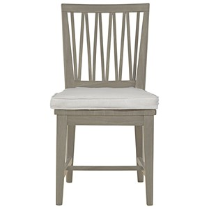 Contemporary Weathered Gray Dining Side Chair with Upholstered Cushion