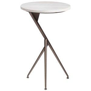 Contemporary Oslo Round End Table with Stone Top