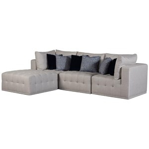 Contemporary 4-Piece Sectional with Button Tufting
