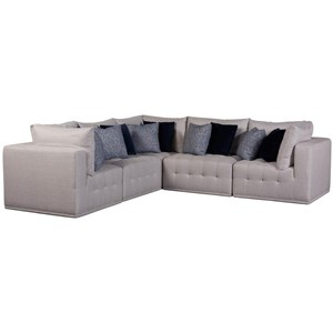 Contemporary 5-Piece Sectional with Button Tufting