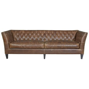 Traditional Sofa in Diamond Tufted Leather