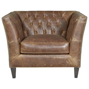 Traditional Chair in Diamond Tufted Leather