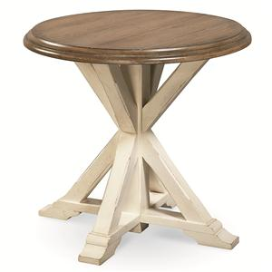 Garden End Table with Pedestal Base