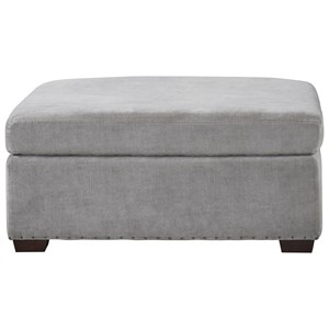 Transitional Ottoman with Block Feet