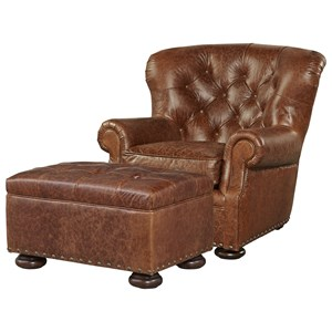 Chair and Ottoman Set with Button Tufting