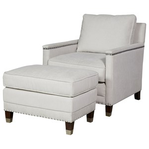 Contemporary Chair & Ottoman Set with Nail Head Trim