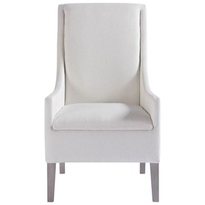 Transitional Host Arm Chair in White Fabric