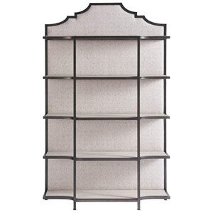 Transitional Etagere with Fabric Backing