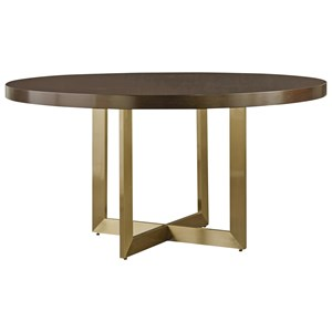 Gibson Round Dining Table with Brushed Brass Base