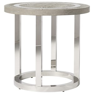 Wyatt Round End Table with Stainless Steal Base