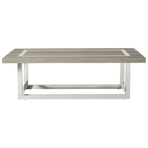 Wyatt Cocktail Table with Stainless Steal Base and Accents