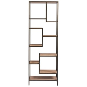 Lamarr Contemporary Etagere with Brushed-Bronze Metal