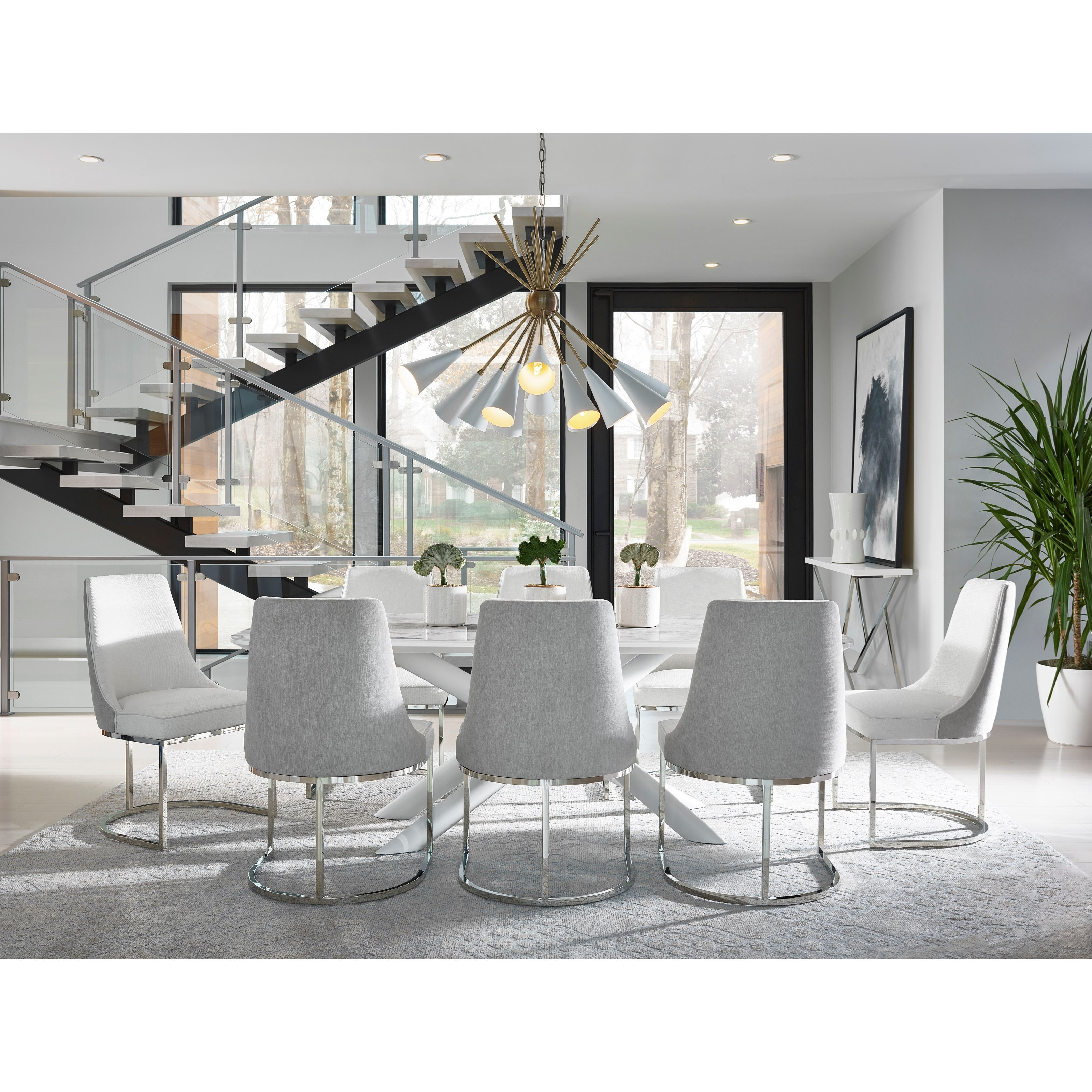 Modern 9-Piece Porter Dining Table Set by Universal at Baer's Furniture