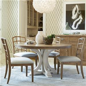 5 Piece Dining Set with Bisque Side Chairs