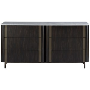 Contemporary 6-Drawer Dresser with Carrera Marble Top
