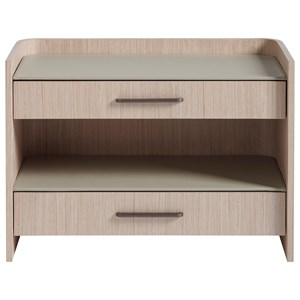 Glam Contemporary 2-Drawer Nightstand with Open Shelf