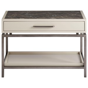 Magon 1-Drawer Nightstand with Open Shelf and Inset Stone Top