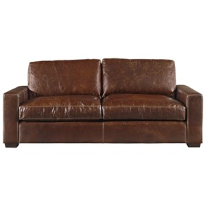 Leather Sofa with Track Arms