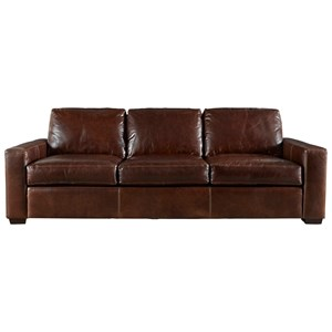 Leather 3-Cushion Sofa with Track Arms