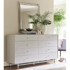 Contemporary 8-Drawer Dresser and Mirror Combo