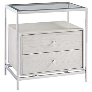 Glam 2-Drawer Nightstand with Glass Top