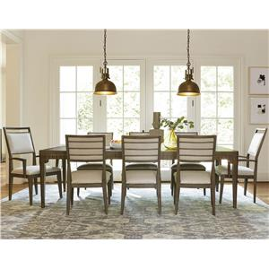 9 Piece Dining Set with Upholstered Side and Arm Chairs