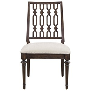 Cable Knit Side Chair with Upholstered Seat