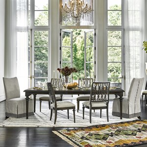 9 Piece Dining Set with Slipcover Host Chairs