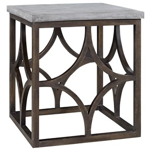Square Foulard End Table with Concrete Table Top