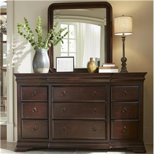 Dresser and Mirror Set with Ring Pull Hardware