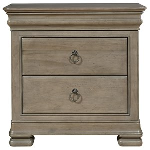 Nightstand with Outlet and Hidden Top Rail Drawer
