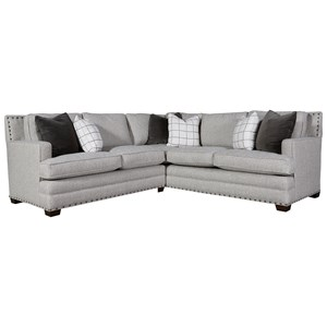 Transitional Sectional Sofa with Nail Head Trim