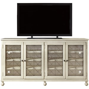 Entertainment Console with Glass Doors and Metal Grills