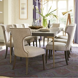 9 Piece Metal Leg Table and Upholstered Chair Set