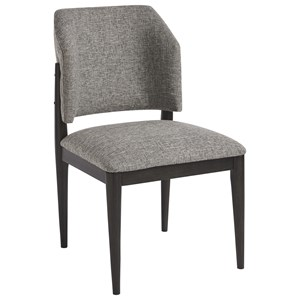 Evan Barrel Back Side Chair in Nabor Silver Fabric