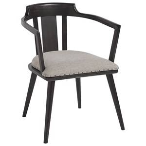 Dalton Barrel Back Side Chair with Exposed Metal Frame