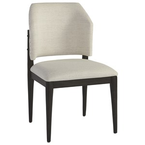 Evan Barrel Back Side Chair in Dover Natural Fabric