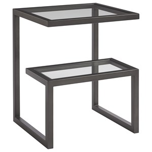 Denison End Table with Multi-Level Glass Top
