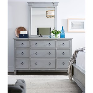 9 Drawer Dresser with Vertical Panel Mirror