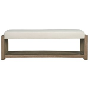 Contemporary Upholstered Bench with Bottom Shelf