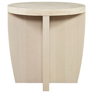 Mid-Century Modern Side Table with Travertine Top