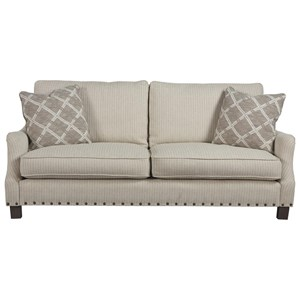 Transitional Two Seat Sofa with Nailheads